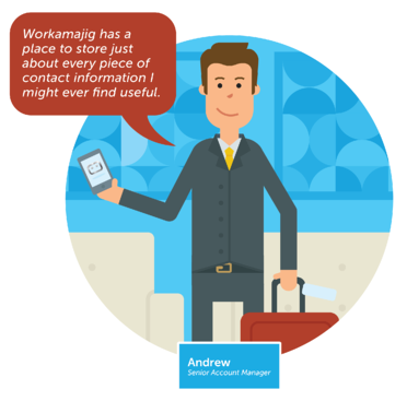 Account executive Andrew loves Workamajig's contact management functions
