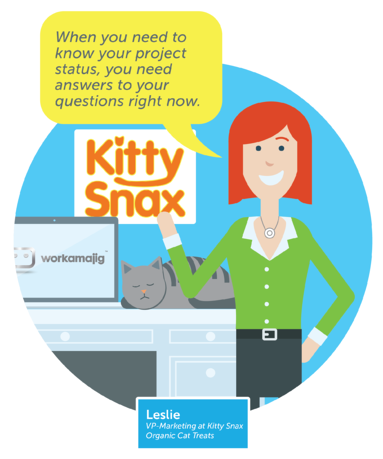 Leslie, Calico client and VP of Marketing, loves Workamajg's client dashboard for checking project status and getting answers to questions right away